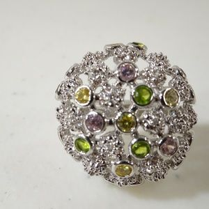 Crystal Green Yellow Pink Silver Bubble Ring Sz 8